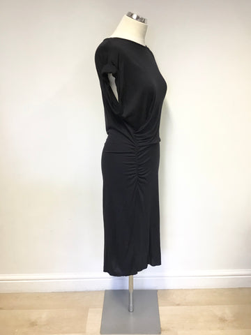 ALL SAINTS BLACK STRETCH  DRAPED CAP SLEEVE ALIX DRESS SIZE 8