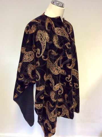 BLACK VELVET WITH GOLD & BROWN PRINT DESIGN