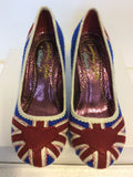 BRAND NEW EX DISPLAY IRREGULAR CHOICE UNION JACK HEELS SIZE 5/38