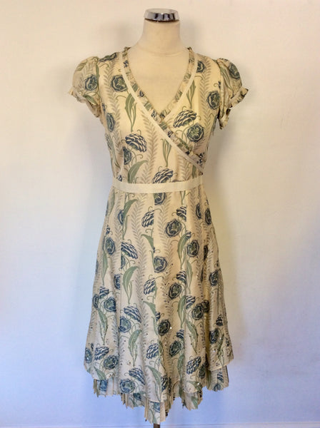 WHISTLES CREAM FLORAL PRINT SILK SPECIAL OCCASION DRESS SIZE 8