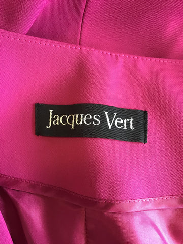 JACQUES VERT FUCHSIA PINK COLLARLESS JACKET SIZE 18