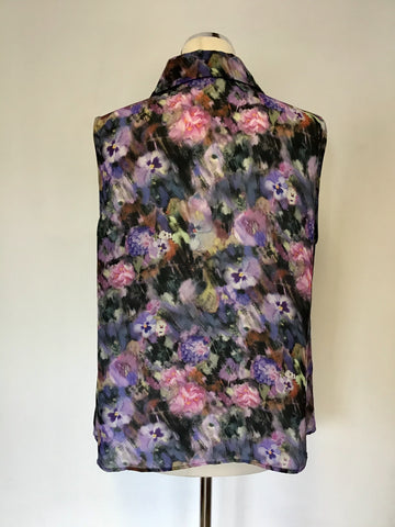 HOBBS MULTI COLOURED FLORAL PRINT SLEEVELESS BLOUSE SIZE 16