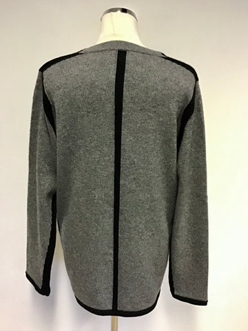 JAEGER GREY & BLACK TRIM WOOL & CASHMERE CARDIGAN SIZE L