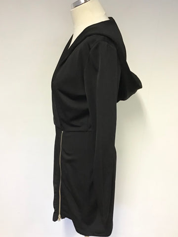 & OTHER STORIES BLACK HOODED LONG SLEEVE MINI DRESS SIZE 10
