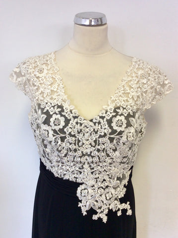 JACQUES VERT BLACK & BEADED IVORY LACE SPECIAL OCCASION DRESS SIZE 12