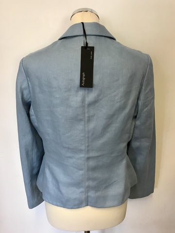 BRAND NEW MARKS & SPENCER AUTOGRAPH SMOKEY BLUE LINEN JACKET SIZE 10