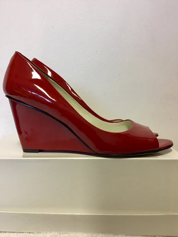 NINE WEST RED PATENT LEATHER PEEP TOE WEDGE HEELS SIZE 6/39