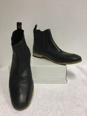 SUPERDRY BLACK ECLIPSE PREMIUM METEOR LEATHER CHELSEA BOOTS SIZE 9/43