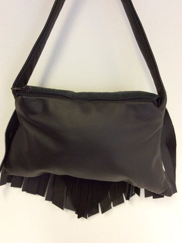 BRAND NEW KINGDOM BLACK LEATHER & SUEDE FRINGED HAND/ SHOULDER BAG