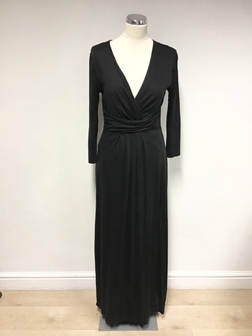 BODEN BLACK V NECKLINE 3/4 SLEEVE LONG MAXI DRESS SIZE 10R