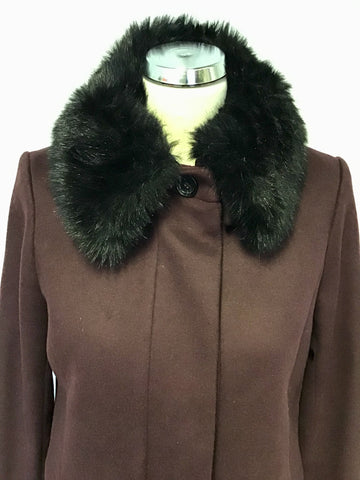 LK BENNETT AOSTE BURGUNDY/ WINE DETACHABLE BLACK FAUX COLLAR COAT SIZE 10