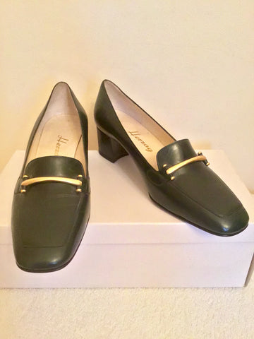BRAND NEW HERZAG DARK GREEN LEATHER COURT SHOES SIZE 5/38