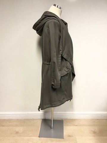 ALL SAINTS PORTERE KHAKI PARKA COAT SIZE 12