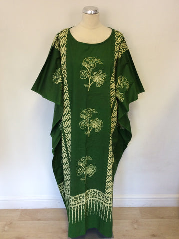 BRAND NEW COOL KAFTAN GREEN PRINT LONG COTTON KAFTAN ONE SIZE