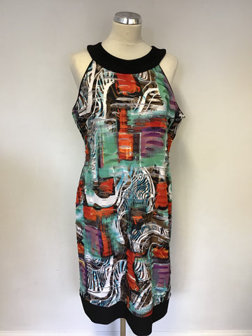 BRAND NEW JACQUES VERT MULTI COLOURED PRINT STRETCH PENCIL DRESS SIZE 18