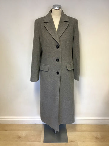 BARBARA LEBEK GREY WOOL & CASHMERE LONG COAT SIZE 14
