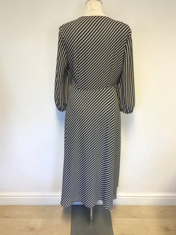 WHISTLES NAVY BLUE,WHITE & ORANGE STRIPE 3/4 SLEEVE WRAP DRESS SIZE 12