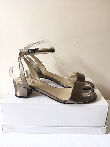 LK BENNETT BRONZE LEATHER ANKLE STRAP SANDALS SIZE 4/37