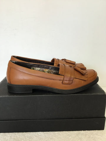 BRAND NEW HOTTER TAN LEATHER TASSEL TRIM LOAFERS SIZE 5/38