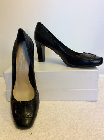 BRAND NEW FRANCO SARTO BLACK LEATHER & SILVER TRIM HEELS SIZE 6/39