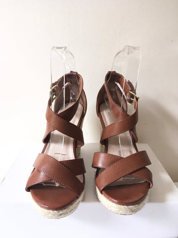 CARVELA BROWN WEDGE HEEL STRAPPY SANDALS SIZE 5/38