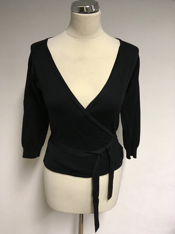 HOBBS BLACK SILK FINE KNIT WRAP AROUND 3/4 SLEEVE TOP SIZE 10