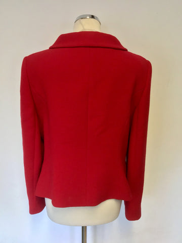 HOBBS RED WOOL BLEND DOUBLE BREASTED JACKET SIZE 14
