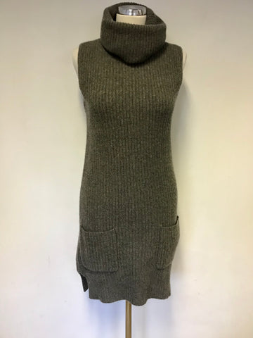 RALPH LAUREN GREY SLEEVELESS ROLL NECK CASHMERE & WOOL LONG TUNIC KNIT JUMPER SIZE XS