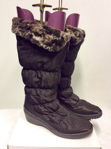 BRAND NEW PAVERS BROWN FAUX FUR LINED ZIP UP SNOW BOOTS SIZE 6/39