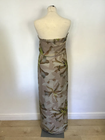 BRAND NEW COAST FLORAL PRINT STRAPLESS SILK MAXI DRESS SIZE 16
