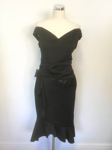BRAND NEW LIPSY BLACK OFF SHOULDER SLEEVELESS PLEATED FRILL TRIM PENCIL DRESS SIZE 16