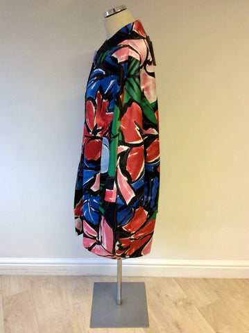 BRAND NEW PERSONA BY MARINA RINALDI MULTI COLOURED FLORAL PRINT SHORT COAT SIZE 27 UK 22
