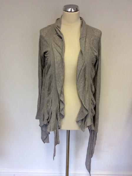 ALL SAINTS LIGHT GREY TAVARA DRAPED WATERFALL CARDIGAN SIZE 8