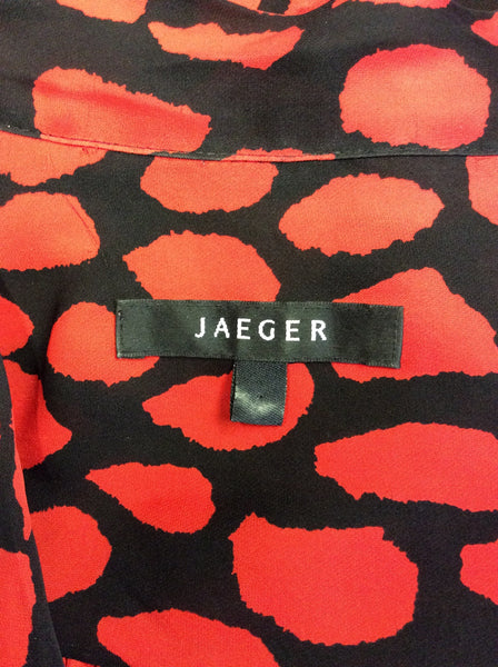 768aa26cb1165f JAEGER BLACK & RED PRINT SILK TIE NECK SHORT SLEEVE BLOUSE SIZE 14 –  Whispers Dress Agency