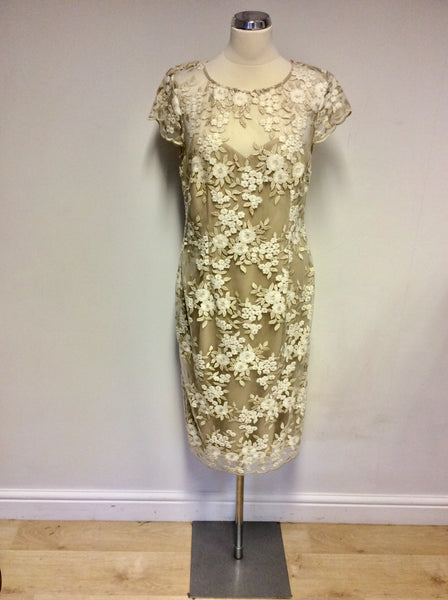 BRAND NEW GINA BACCONI GOLD & WHITE EMBROIDERED SPECIAL OCCASION DRESS SIZE 14