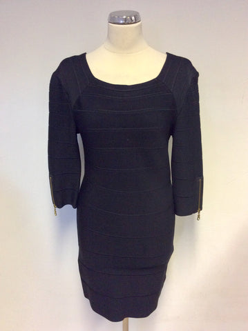 WHISTLES BLACK BANDAGE STYLE BODYCON DRESS SIZE 3 UK 12