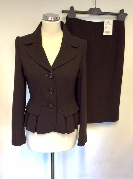 BRAND NEW HOBBS BROWN WOOL CAITLIN SKIRT & JACKET SUIT SIZE 8