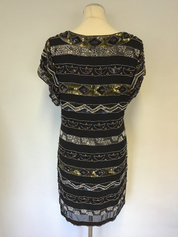 FRENCH CONNECTION BLACK BEADED & SEQUINNED SHIFT DRESS SIZE 12