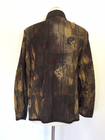 ATTITUDE BROWN & BLACK LEAF PRINT JACKET SIZE XL