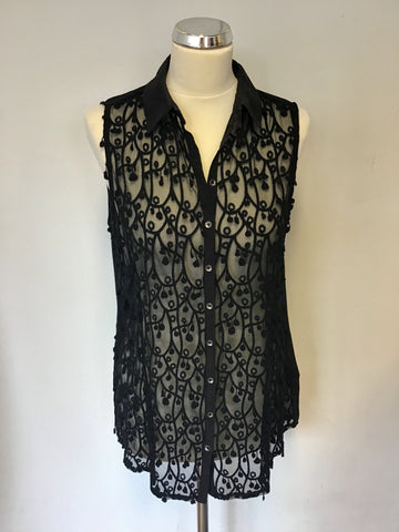 MINT VELVET BLACK SLEEVELESS EMBROIDERED COLLARED TOP SIZE 14