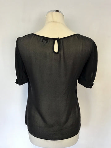 TEMPERLEY BLACK SILK FRILL TRIM SHORT SLEEVE TOP SIZE 10