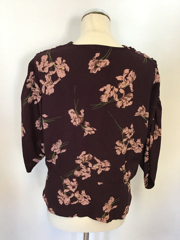 BRAND NEW BURGUNDY & PINK FLORAL PRINT WRAP ACROSS BLOUSE SIZE 16
