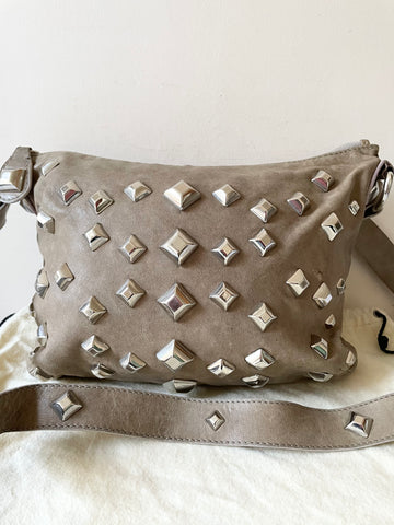 TEMPERLEY LONDON TAUPE LEATHER SILVER STUDDED SHOULDER/CROSS BODY BAG
