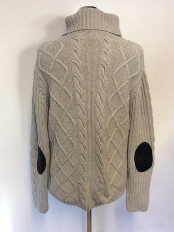 BARBOUR SAM HEUGHAN SIGNATURE COLLECTION FRASER GREY CABLE KNIT JUMPER SIZE 16