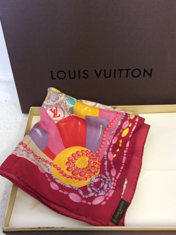 LOUIS VUITTON PINK & MULTI COLOURED FLORAL & BEAD PRINT SILK SCARF