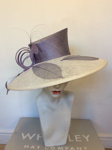 BRAND NEW WHITELEY WHITE & LILAC WIDE BRIM FORMAL HAT