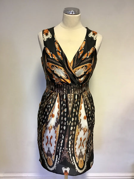 Star By Julien Macdonald Black, Ivory & Orange Print V Neck Dress Size 10