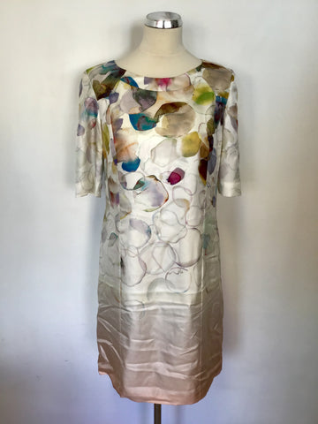 STILLS MULTI COLOURED SILK SHORT SLEEVE SHIFT DRESS SIZE 10