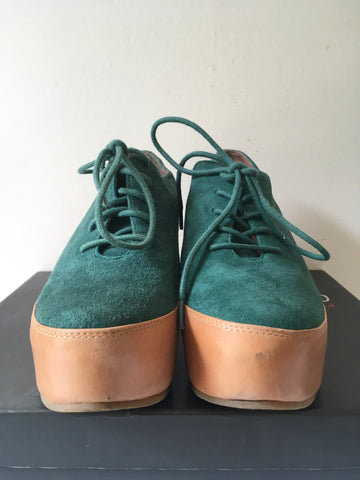 STACCATO GREEN SUEDE LACE UP WEDGE HEEL PLATFORM SHOES SIZE 5/38