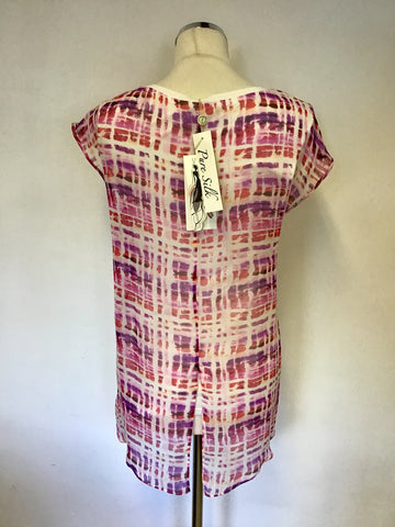 BRAND NEW DAMSEL IN A DRESS OPAL PINK PRINT SILK TOP SIZE 8